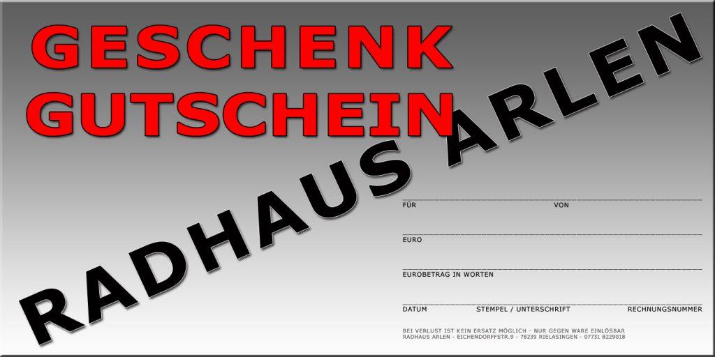 Geschenk Gutschein vom Radhaus Arlen